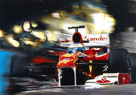 ferrari art ferrari f10 alonso f1 formula 1 race car signed monaco new