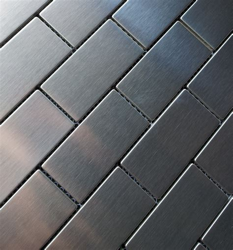 stainless steel 1 quot x 3 quot and surf glass kitchen backsplash brick metal mosaic the builder depot blog