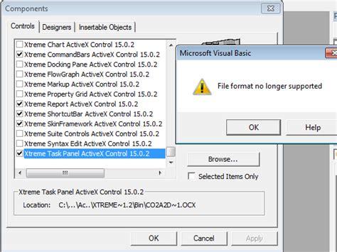 file format error video file format no longer supported error codejock developer