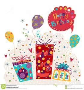birthday greeting card made of gifts balloons birthday