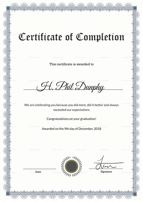 formal graduation completion certificate design template