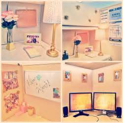 Pink and gold cubicle decor decorating pinterest