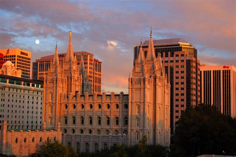 salt lake temple at sunset