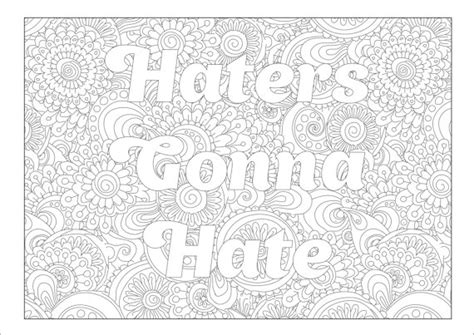 swear word coloring pages pdf swear coloring page haters gonna hate with flower
