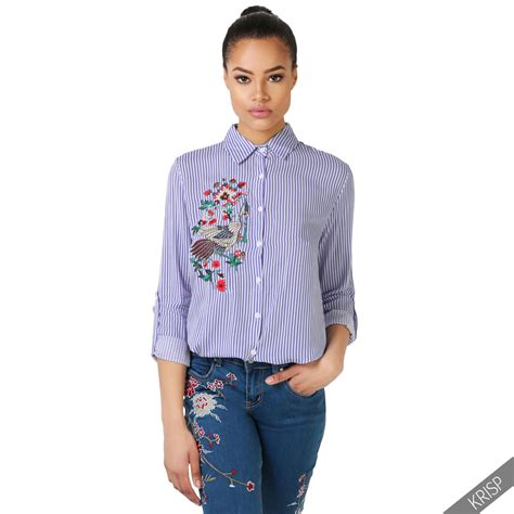 Sleeve Embroidered Shirt womens striped sleeve flower embroidered shirt button