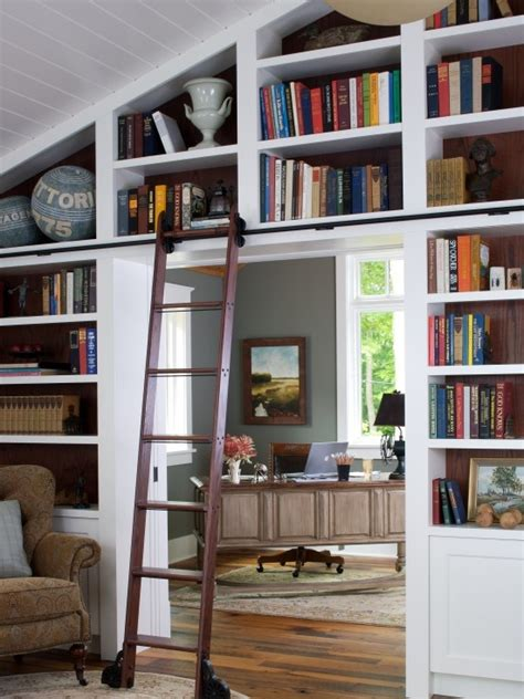 library decoration ideas sunroom built in bookshelves slanted ceiling design