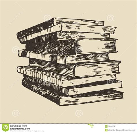 libro drawn from the archive pile stack of old books vintage hand drawn vector stock vector image 56181279