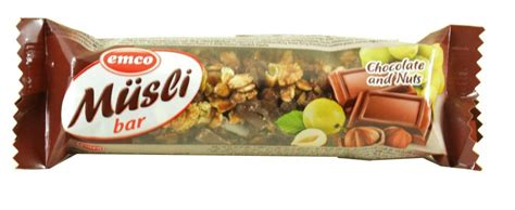 Emco With Food emco muesli bar chocolate and nuts 30g approved food