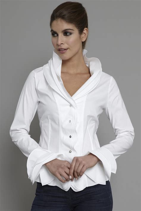 White Tops And Blouses Uk by Black And White Ruffle Blouse Collar Blouses