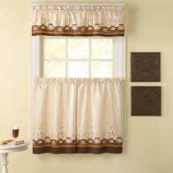 Cafe Kitchen Curtains Cafe Coffee Window Curtain Set Kitchen Valance Tiers