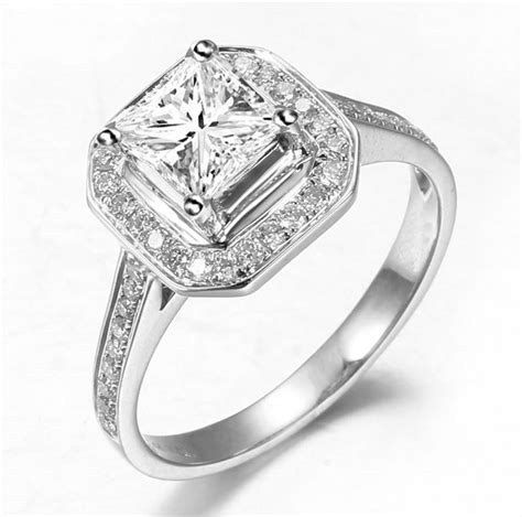 1 carat halo engagement ring with princess