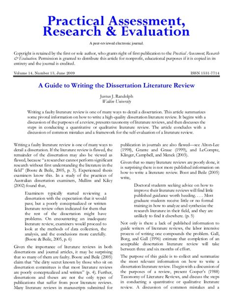 literature review of dissertation a guide to writing the dissertation literature review
