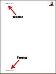 headers and footers business document writing