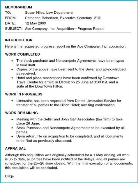 Memo Format Business Report Lathrop Memo Format