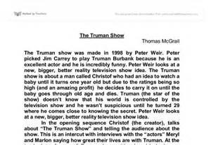 The Truman Show Essays by Truman Show Essay Questions Truman Show Essay Questions Academic Writing Help An Truman Show