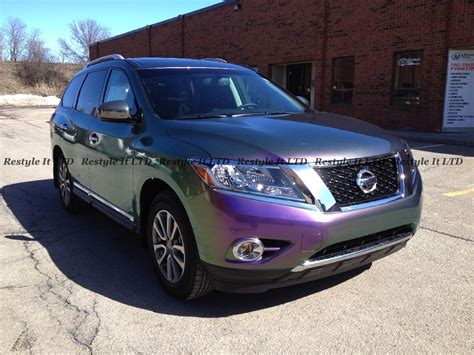 purple nissan purple chameleon nissan pathfinder vinyl car wrap car