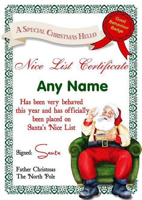 free printable santa certificate template santa list certificates santas letter
