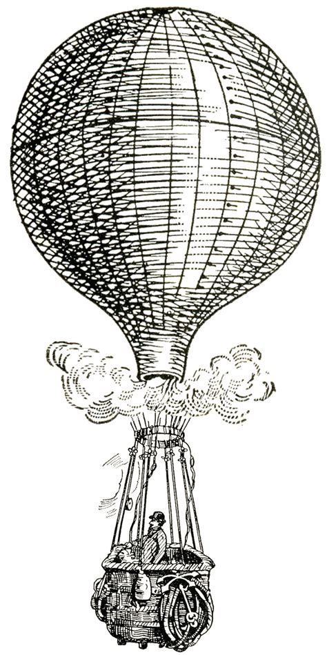 retro drawing vintage images air balloons steunk the