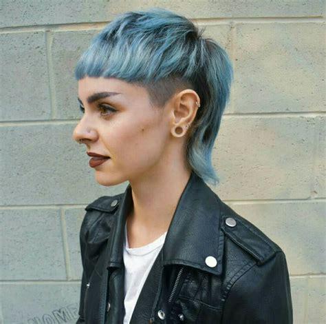 blue mullet edgy hair short punk hair punk hair