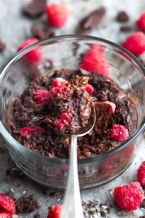 dark chocolate raspberry dark chocolate raspberry breakfast bake running with spoons