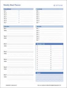 Weekly Food Planner Template Meal Planner Template Weekly Menu Planner