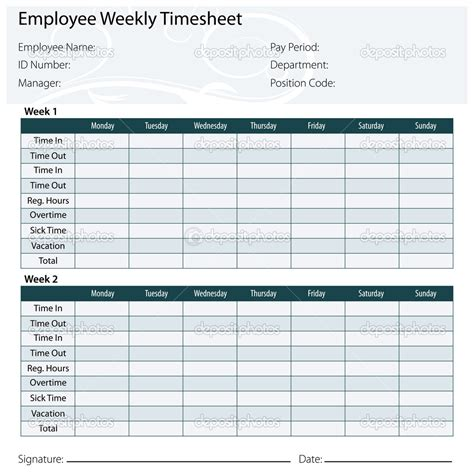 9 best images of printable employee timesheet templates