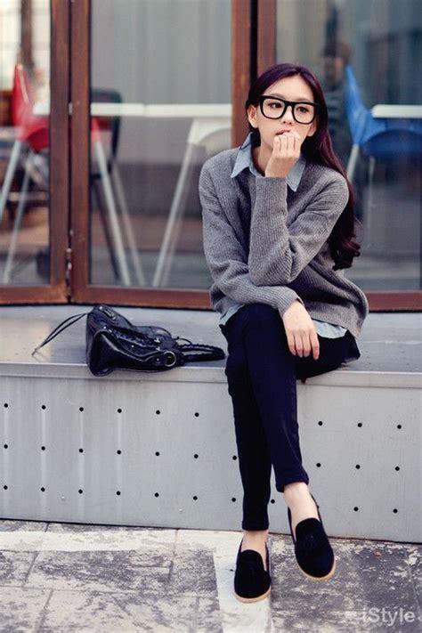 Korean Glasses Kacamata Korea Murah Oval Fashion Trendy Hitam Kaca Ben everyday skinnies loafers blue oxford and grey glasses i d like to wear