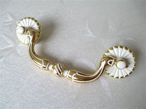 3 75 quot shabby chic dresser pulls drawer pull handles bail pulls white gold kitchen cabinet handle