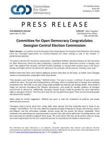 Press Release: Committee for Open Democracy Congratulates
