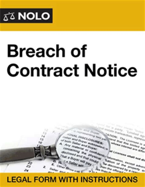 what is breach of contract in business lawsuits breach of contract notice form nolo
