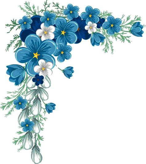 Qw Wallpaper Sticker Tiny Flower Arrangement Maroon blue flower clipart border pencil and in color blue flower clipart border