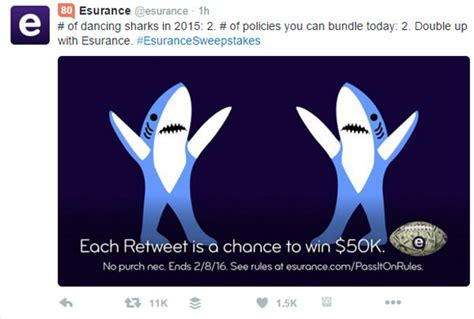 Esurance Super Bowl Sweepstakes - twitter marketing a few observations book marketing bestsellers