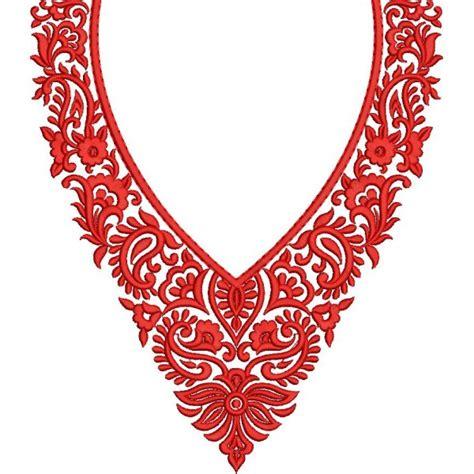 neck embroidery design pattern small red neckline designs embroideryshristi
