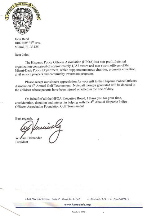 thank you letter after officer miami international links melreese country club