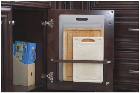 cutting kitchen cabinets diy vertical behind the cabinet door cutting board holder