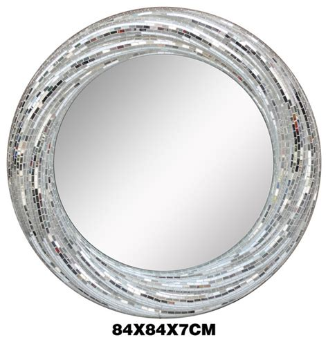 silver bathroom mirror luxury white silver glass mosaic round mirrors
