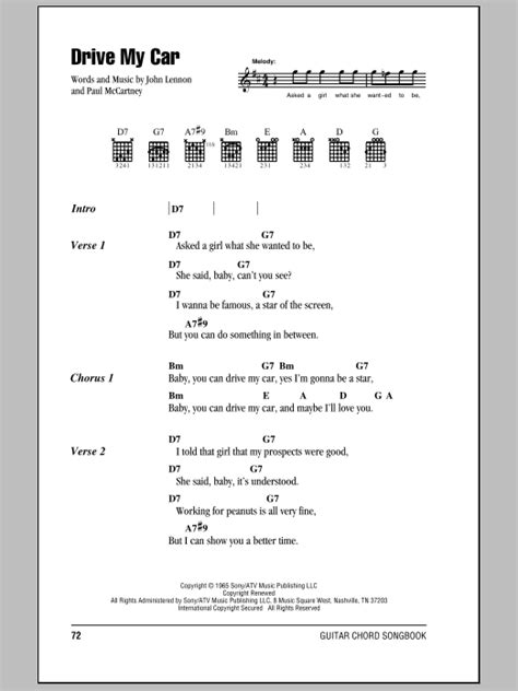 drive my car lyrics drive my car sheet music by the beatles lyrics chords