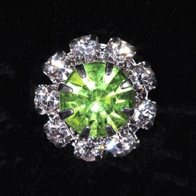 Peridot Pr 05 S 9 16 quot rosette button 1215 peridot silver plated august