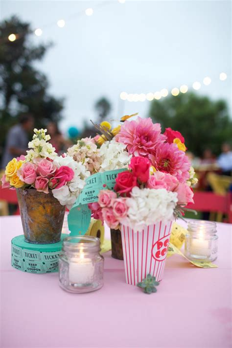 colorful country fair wedding carnival centerpieces and