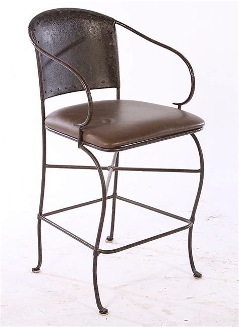 Wrought Iron Bar Stools With Leather Seats by Pair Wrought Iron Bar Stools Leather Seats