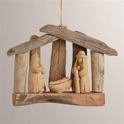 pottery barn nativity set driftwood nativity ornament ornaments and nativity