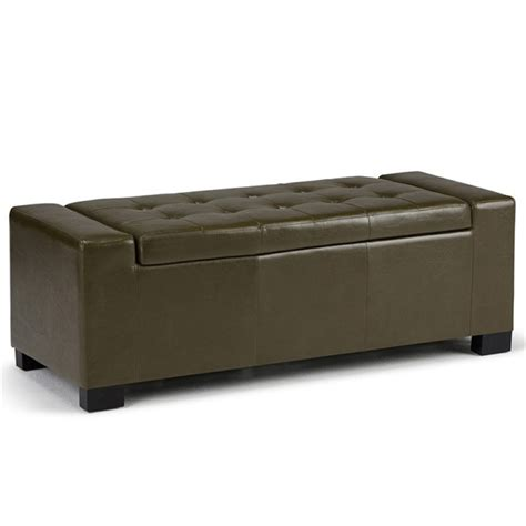 deep storage bench faux leather storage bench in deep olive green axcot 231 gr