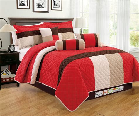 7 pc faux suede quilted striped patchwork comforter set