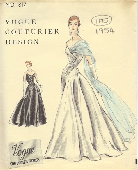 vintage gown pattern 1954 vintage vogue sewing pattern b32 dress evening gown