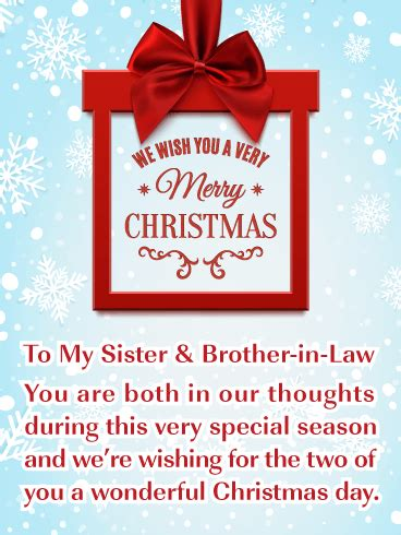 special day merry christmas card  sister brother  law birthday greeting cards