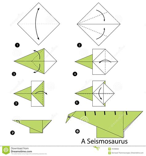 How To Make Origami Dinosaur - step by step how to make origami a dinosaur