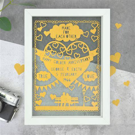 Wedding Anniversary Ideas Portland by Personalised Golden Anniversary Papercut By The Portland