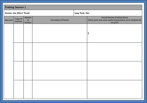 exercise session plan template blank session plan national 4 5 pe information site
