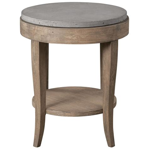 accent furniture tables scout industrial loft round concrete fir accent table