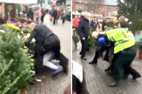 fight breaks out in christmas trees at hanley german